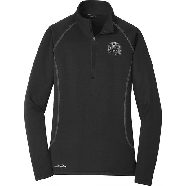 Embroidered Eddie Bauer Ladies Base Layer Fleece Black 3X-Large Portuguese Water Dog DM452