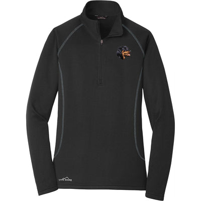 Rottweiler Embroidered Eddie Bauer Ladies Quarter Zip Pullover Fleece