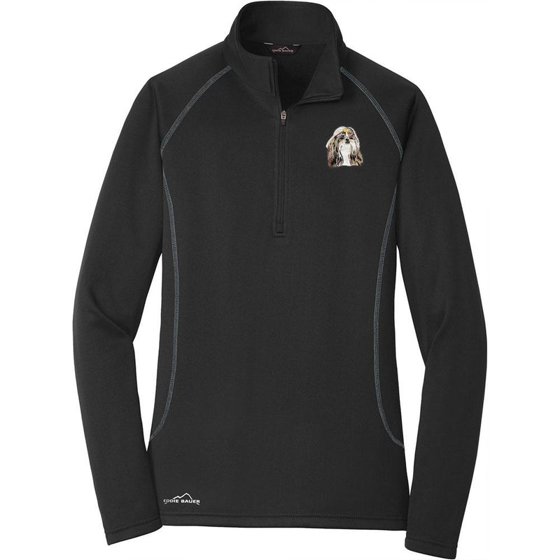 Embroidered Eddie Bauer Ladies Base Layer Fleece Black 3X-Large Shih Tzu DN390