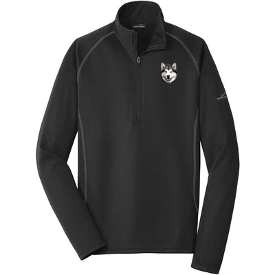 Alaskan Malamute Embroidered Eddie Bauer Mens Quarter Zip Pullover Fleece