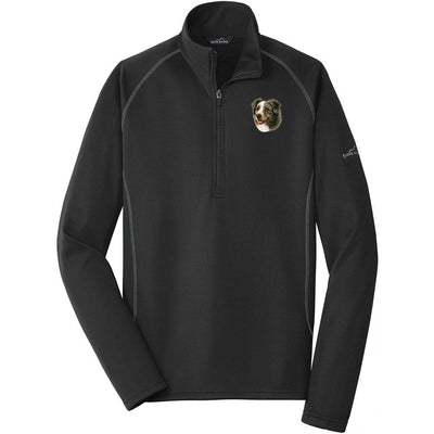 Australian Shepherd Embroidered Eddie Bauer Mens Quarter Zip Pullover Fleece