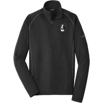 Border Collie Embroidered Eddie Bauer Mens Quarter Zip Pullover Fleece