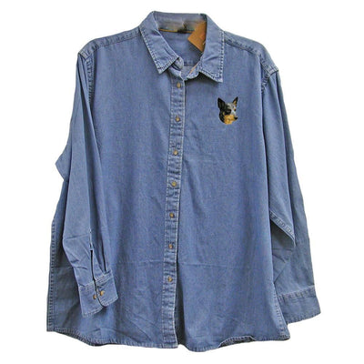 Australian Cattle Dog Embroidered Ladies Denim Shirts