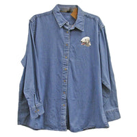 Bedlington Terrier Embroidered Ladies Denim Shirts