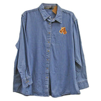 Irish Terrier Embroidered Ladies Denim Shirts