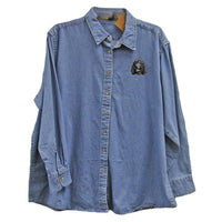 Irish Water Spaniel Embroidered Ladies Denim Shirts