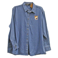 Shiba Inu Embroidered Ladies Denim Shirts