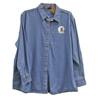Tibetan Terrier Embroidered Ladies Denim Shirts