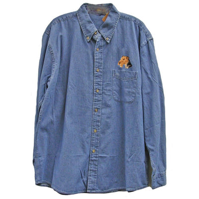 Airedale Terrier Embroidered Mens Denim Shirts