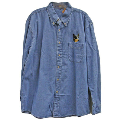 Australian Cattle Dog Embroidered Mens Denim Shirts