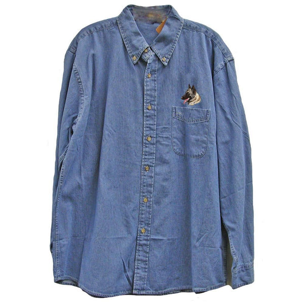 Belgian Sheepdog Embroidered Mens Denim Shirts