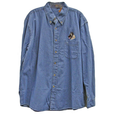 Belgian Tervuren Embroidered Mens Denim Shirts