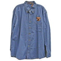 Border Terrier Embroidered Mens Denim Shirts