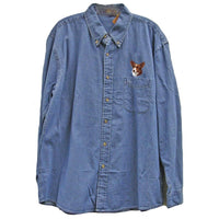 Cardigan Welsh Corgi Embroidered Mens Denim Shirts