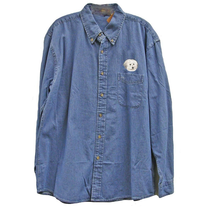 Coton de Tulear Embroidered Mens Denim Shirts