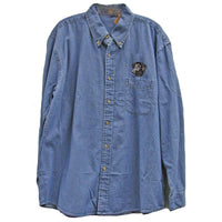 Curly Coated Retriever Embroidered Mens Denim Shirts