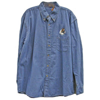 Icelandic Sheepdog Embroidered Mens Denim Shirts