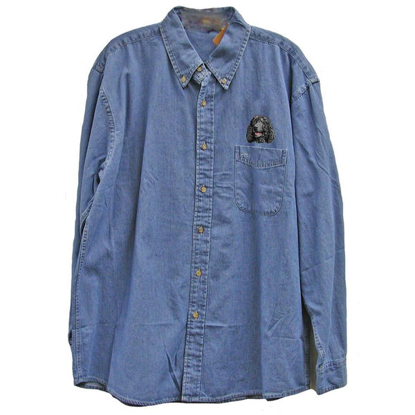 Irish Water Spaniel Embroidered Mens Denim Shirts