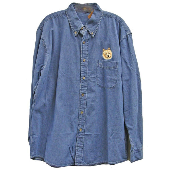 Norwich Terrier Embroidered Mens Denim Shirts