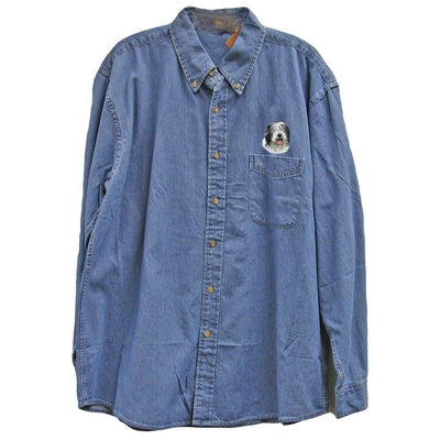 Old English Sheepdog Embroidered Mens Denim Shirts