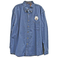 Samoyed Embroidered Mens Denim Shirts