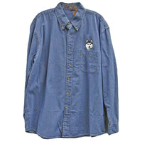 Siberian Husky Embroidered Mens Denim Shirts