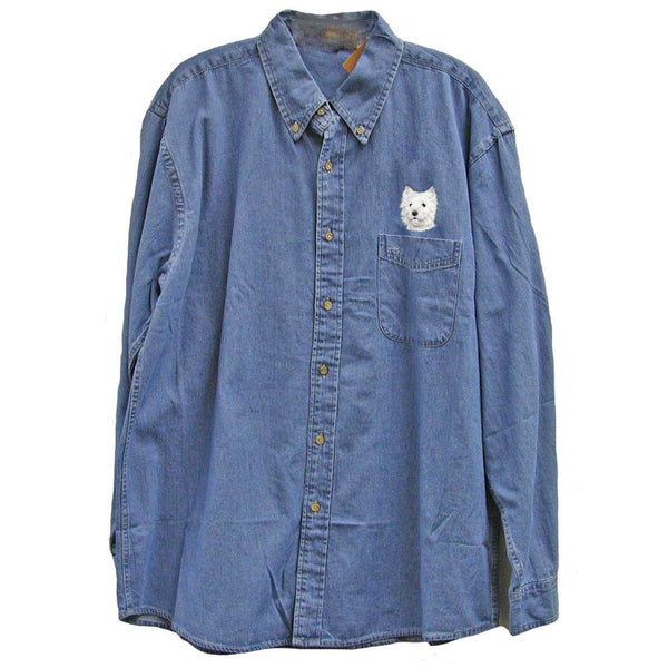 West Highland White Terrier Embroidered Mens Denim Shirts