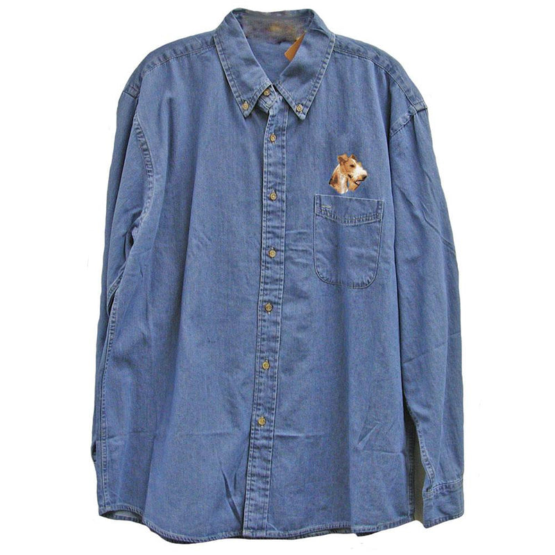Wire Fox Terrier Embroidered Mens Denim Shirts