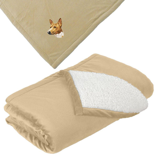 Embroidered Blankets Tan  Basenji DM171