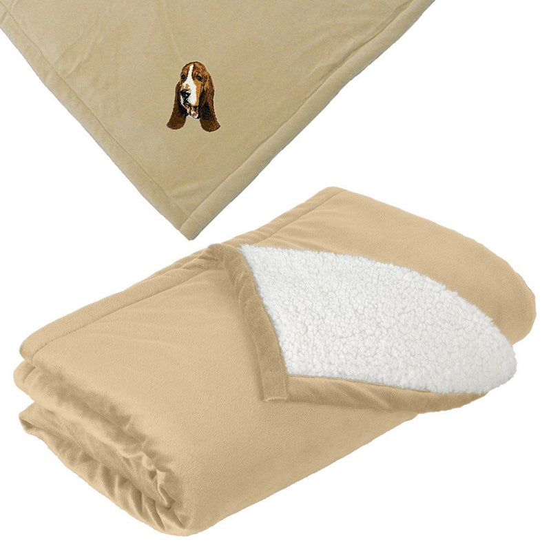 Embroidered Blankets Tan  Basset Hound DJ229