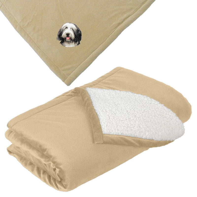 Embroidered Blankets Tan  Bearded Collie D37