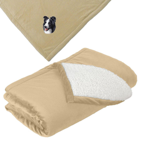 Embroidered Blankets Tan  Border Collie D16
