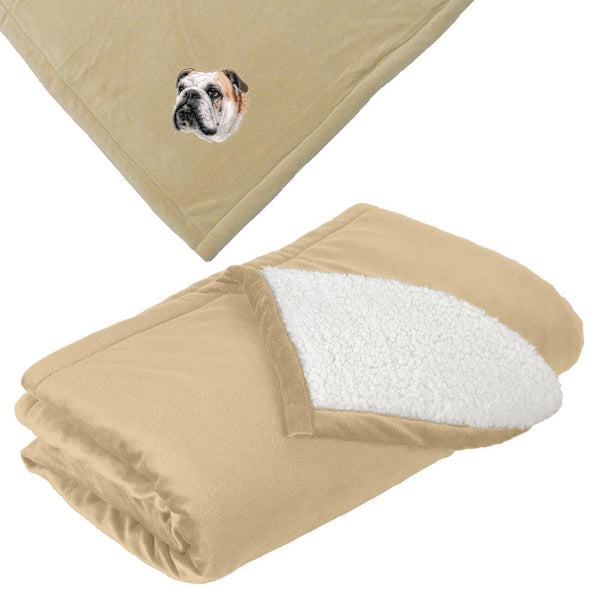Embroidered Blankets Tan  Bulldog D59