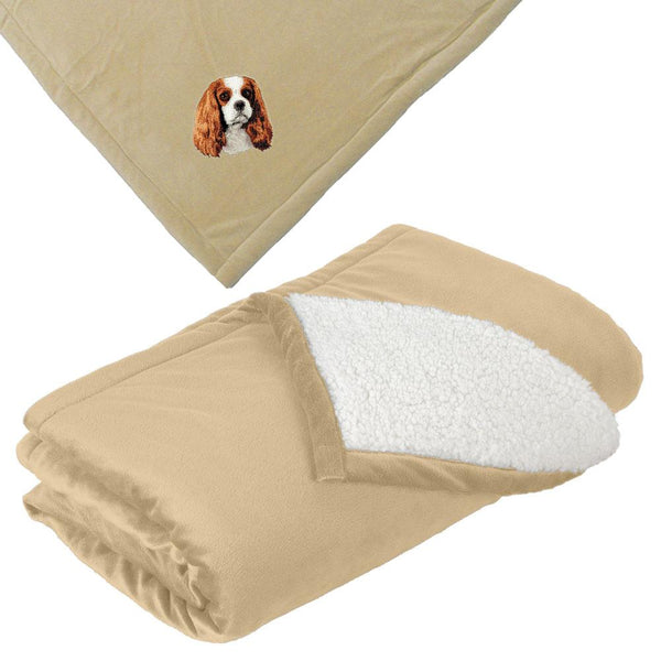 Embroidered Blankets Tan  Cavalier King Charles Spaniel D11