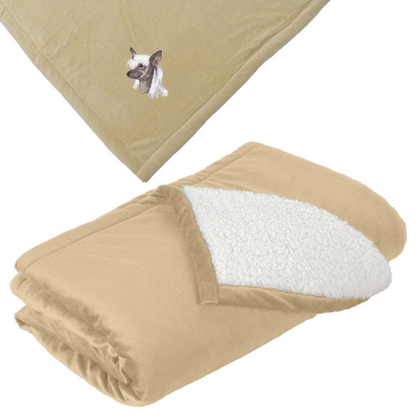 Embroidered Blankets Tan  Chinese Crested D140