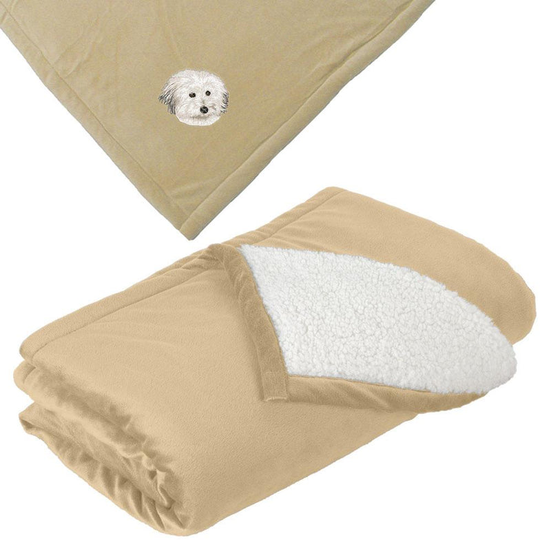 Embroidered Blankets Tan  Coton de Tulear DV217