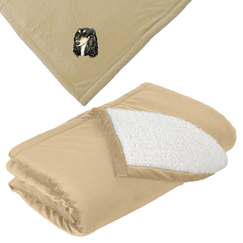 Embroidered Blankets Tan  Saluki D76