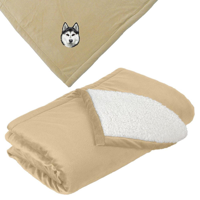 Embroidered Blankets Tan  Siberian Husky D121