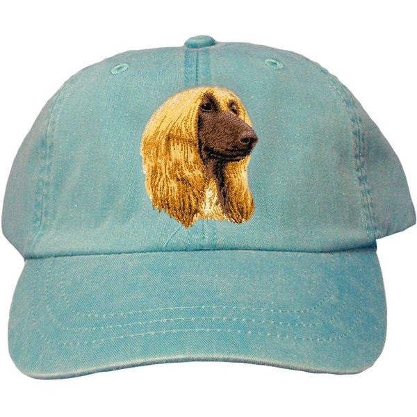 Embroidered Baseball Caps Turquoise  Afghan Hound D42
