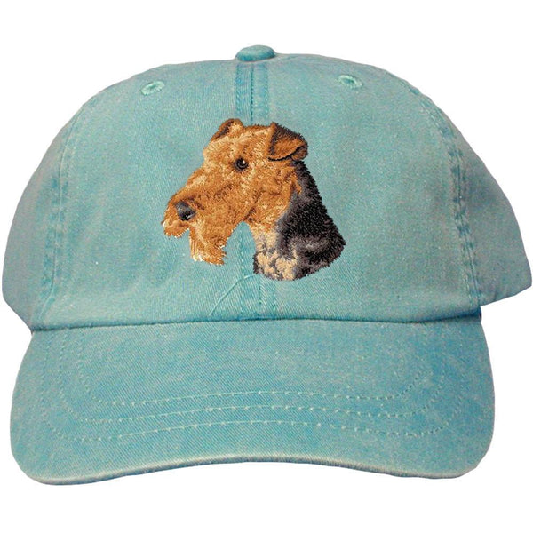 Embroidered Baseball Caps Turquoise  Airedale Terrier D67