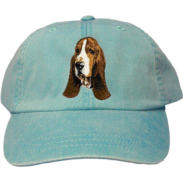 Embroidered Baseball Caps Turquoise  Basset Hound DJ229