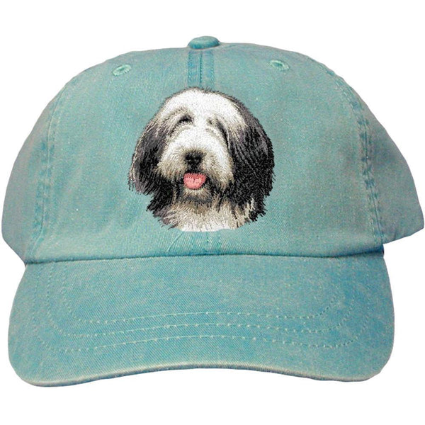 Embroidered Baseball Caps Turquoise  Bearded Collie D37