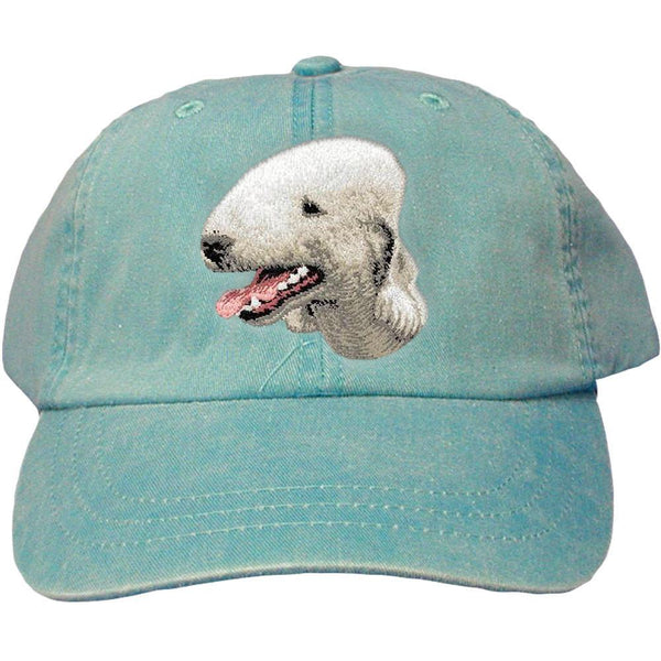 Embroidered Baseball Caps Turquoise  Bedlington Terrier D35
