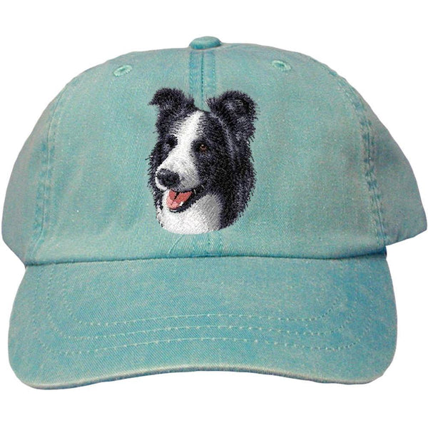 Embroidered Baseball Caps Turquoise  Border Collie D16