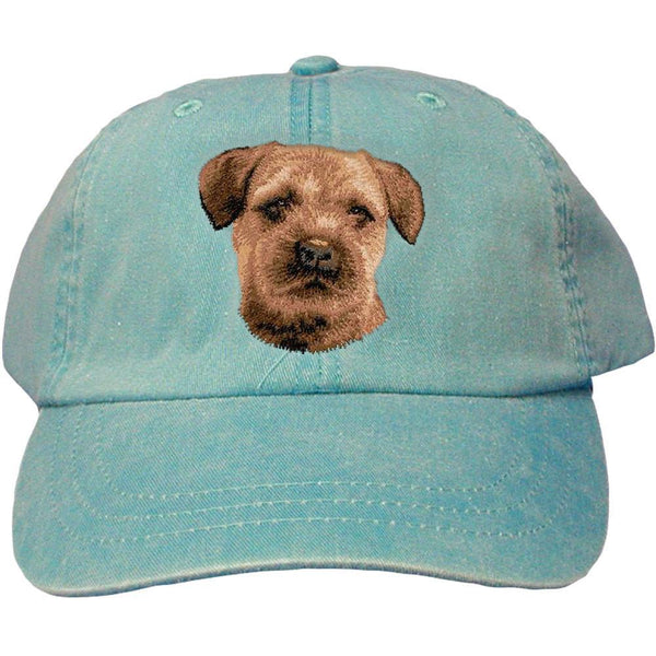 Embroidered Baseball Caps Turquoise  Border Terrier D51