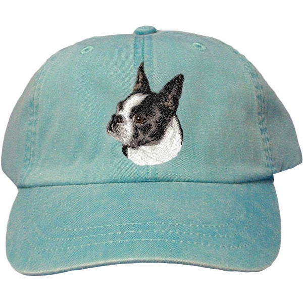 Embroidered Baseball Caps Turquoise  Boston Terrier D50