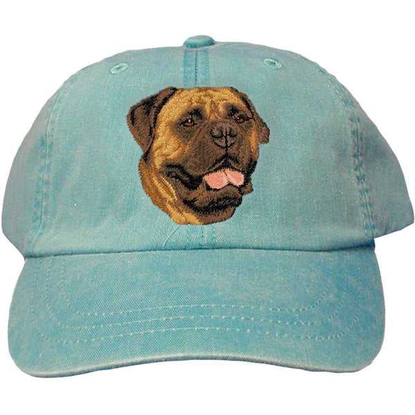 Embroidered Baseball Caps Turquoise  Bullmastiff D56
