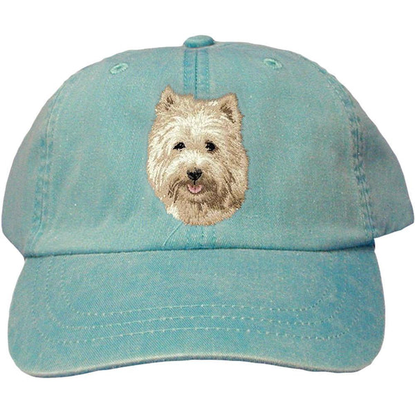 Embroidered Baseball Caps Turquoise  Cairn Terrier D106