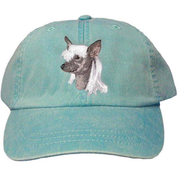 Embroidered Baseball Caps Turquoise  Chinese Crested D140