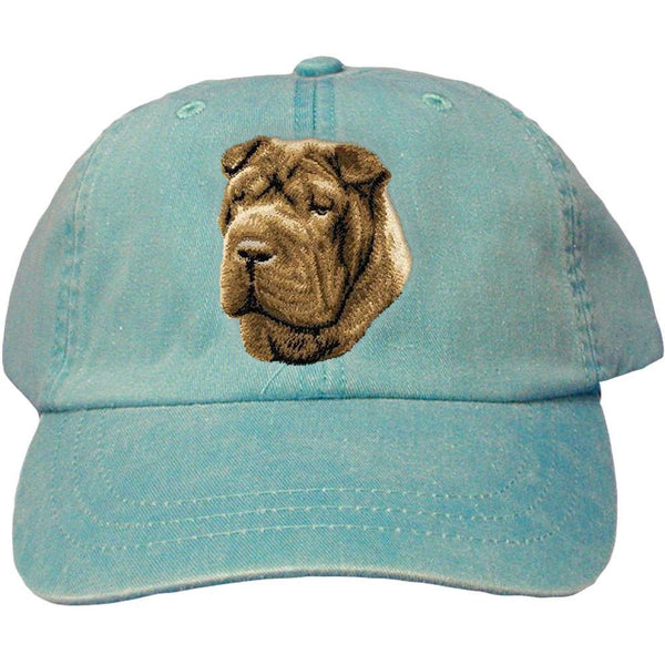 Embroidered Baseball Caps Turquoise  Chinese Shar Pei D45